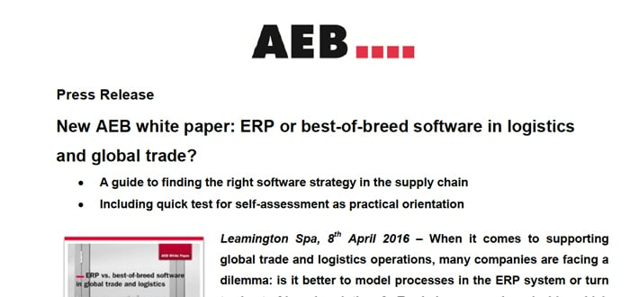 AEB white paper: ERP or best-of-breed software in logistics and global trade?