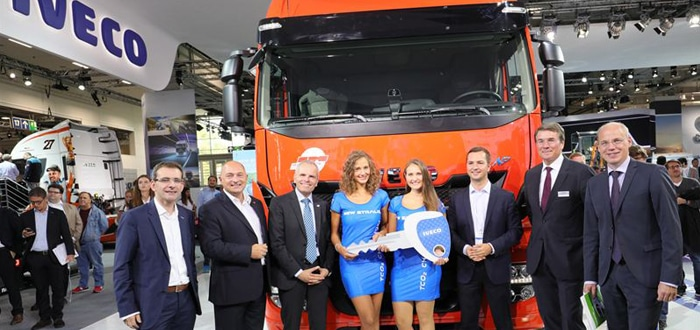 Iveco delivers Germany's first Liquid Natural Gas-powered long-haul truck at IAA 2016.