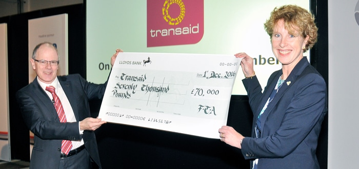 FTA presents Transaid with £70,000 cheque.