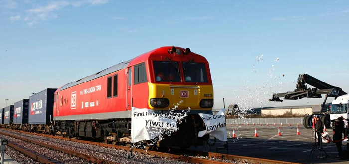 First freight train from China arrives in London.