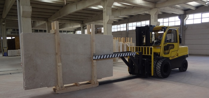 Image of Hyster Fork Lift handling marble