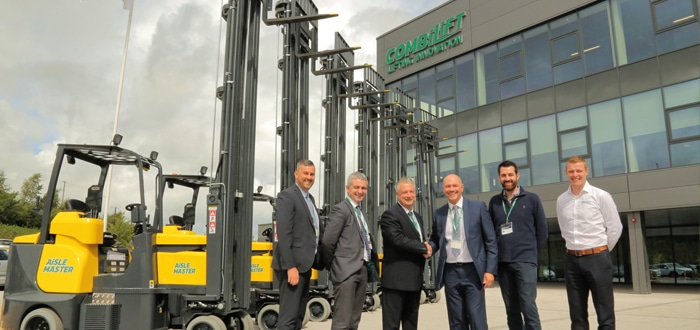 From left to right: Darren Monks, Carrylift; Michael Gilmore, Carrylift; Brian Smith, Eddie Stobart; Mark Brown, Carrylift; John Myers, Eddie Stobart; Anthony Rooney, Combilift and Aisle Master.