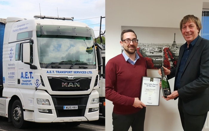 AET Transport Sales Manager Lifts National Palletways Award.