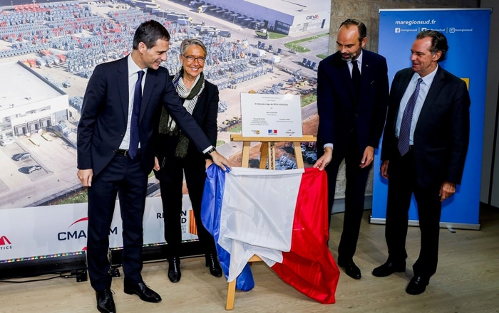 French Prime Minister Edouard Philippe Inaugurates CEVA Logistics' New Headquarters In Marseille.